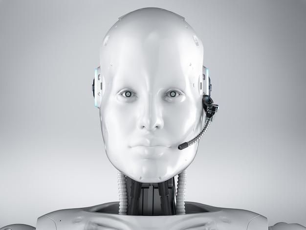 Conceito de bot de bate-papo com renderização em 3d robô humanóide com fone de ouvido