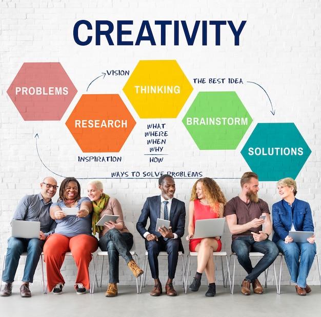 Conceito de brainstorming de criatividade e estratégia de inovação