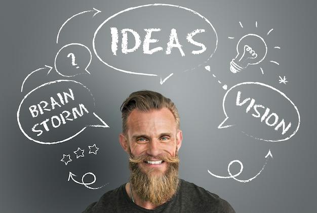 Conceito de brainstorming de ideias criativas de inspiração