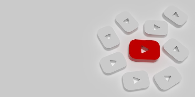 Conceito de branding de marketing do youtube 3d com branco