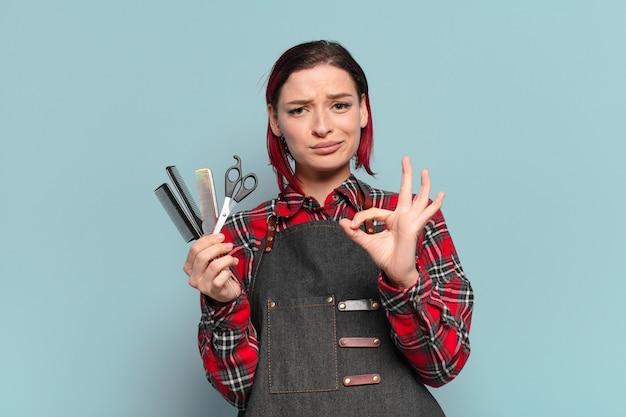 Conceito de cabeleireiro mulher descolada de cabelo ruivo