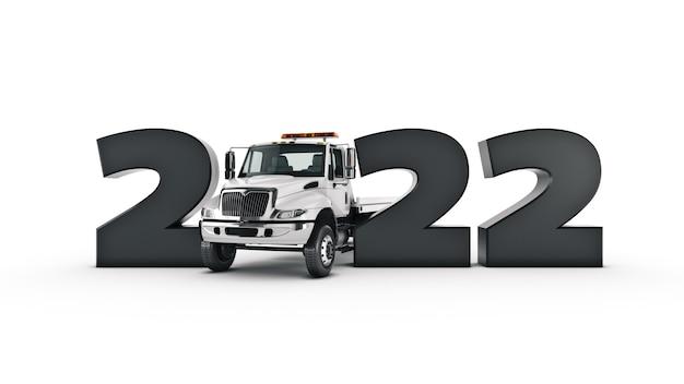Conceito de caminhão 2022 sinal de ano novo renderização em 3d