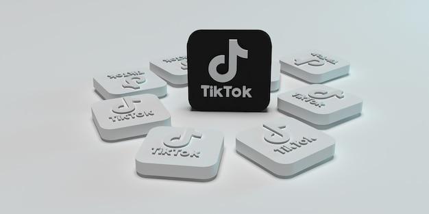Conceito de campanha de marketing digital 3d tiktok com superfície branca renderizada