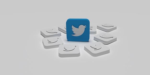 Conceito de campanha de marketing digital 3d twitter com fundo branco renderizado