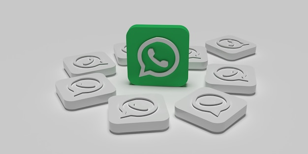 Conceito de campanha de marketing digital whatsapp 3d com superfície branca renderizada