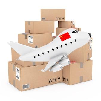 Conceito de carga aérea. desenhos animados toy jet airplane com a bandeira da china perto de caixas de mercadorias em um fundo branco. renderização 3d.