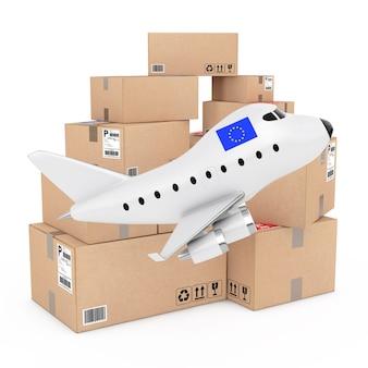 Conceito de carga aérea. desenhos animados toy jet airplane com a bandeira da união européia perto de caixas de mercadorias em um fundo branco. renderização 3d.