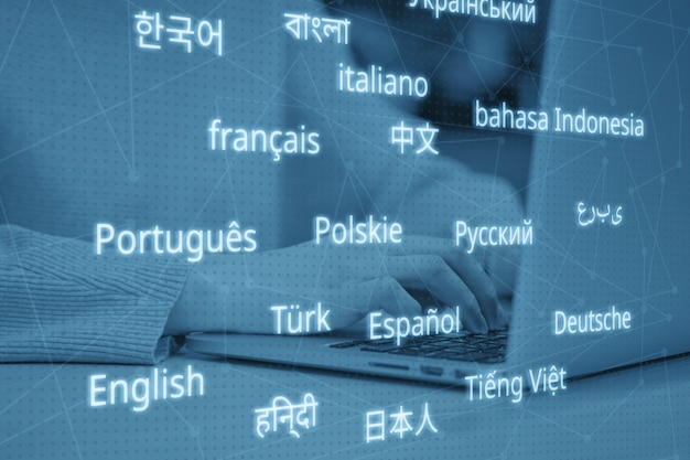 Conceito de carreira de tradutor em diferentes idiomas. tonificado.