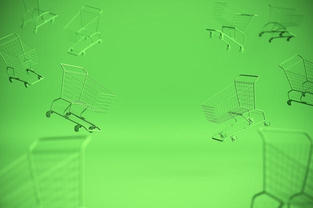 Conceito de carrinho de compras em fundo verde com algum espaço de cópia. ilustração 3d