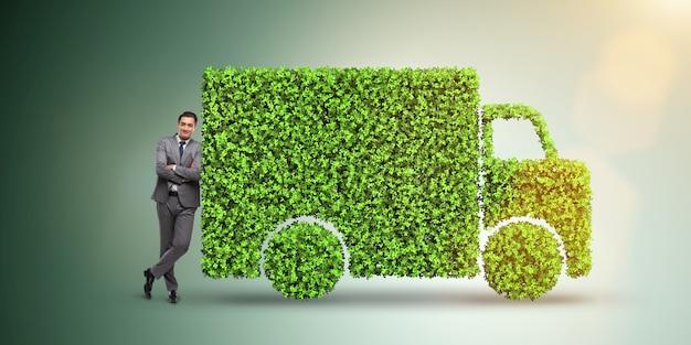 Conceito de carro elétrico no conceito de ambiente verde
