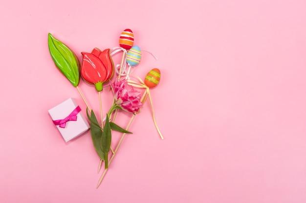 Conceito de cartão de saudação da primavera um buquê de tulipas