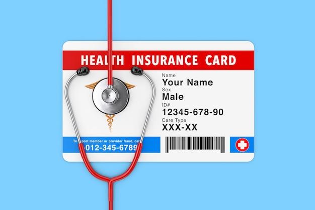 Conceito de cartão médico de seguro de saúde com estetoscópio sobre um fundo azul. renderização 3d