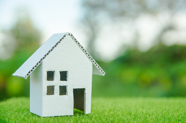 Conceito de casa eco: casa de corte de papelão na grama verde