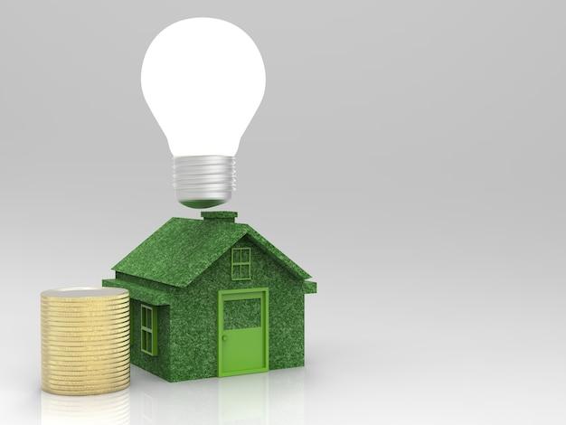 Conceito de casa ecológica economizando energia, economizando dinheiro