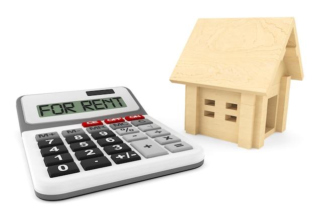 Conceito de casa para alugar. casa de madeira com calculadora em um fundo branco