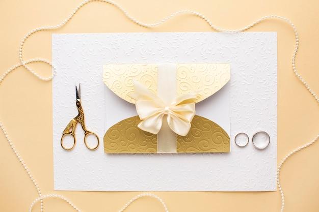 Conceito de casamento luxuoso com anéis de casamento