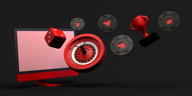 Conceito de casino online com computador. banner de jogos de azar. aplicativo. ilustração 3d. copie o espaço.