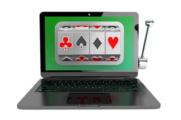 Conceito de casino online. máquina caça-níqueis dentro do laptop em um fundo branco