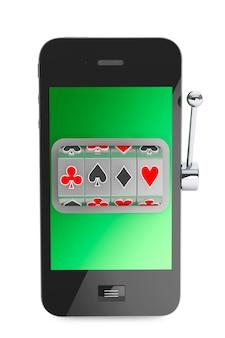 Conceito de casino online. máquina caça-níqueis dentro do telefone móvel em um fundo branco