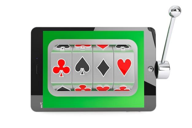 Conceito de casino online. slot machine dentro do tablet pc em um fundo branco