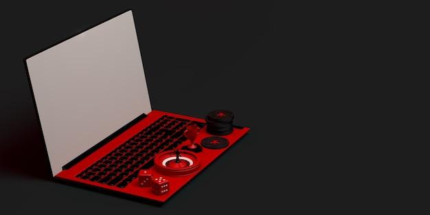 Conceito de cassino online com laptop. banner de jogos de azar. aplicativo. ilustração 3d. copie o espaço.