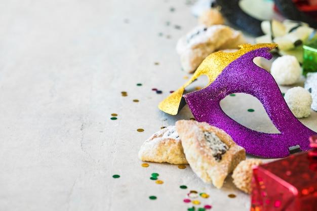 Conceito de celebração do purim em branco