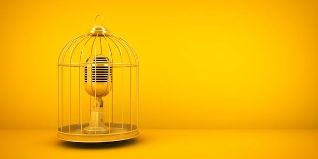 Conceito de censura: microfone em uma gaiola renderização em 3d