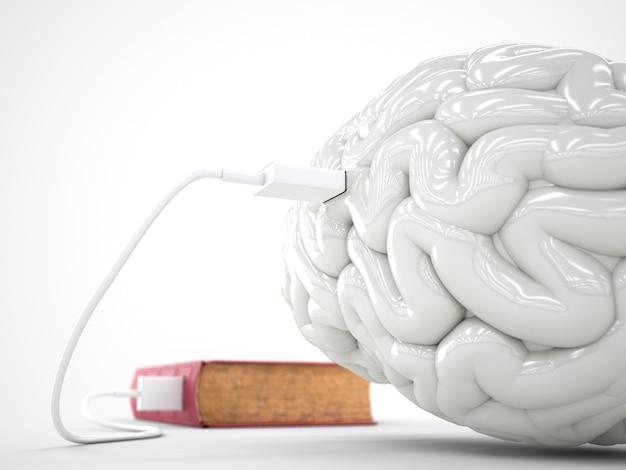 Conceito de cérebro de carregamento de livro