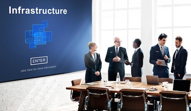 Conceito de chip link de construção de infraestrutura