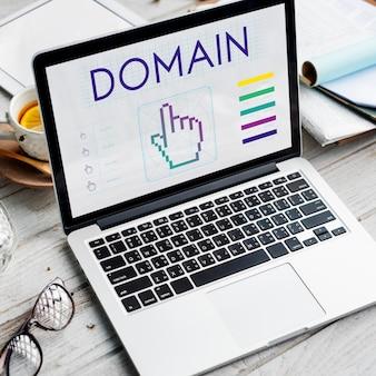 Conceito de ciberespaço de webinar de seo de links de domínio