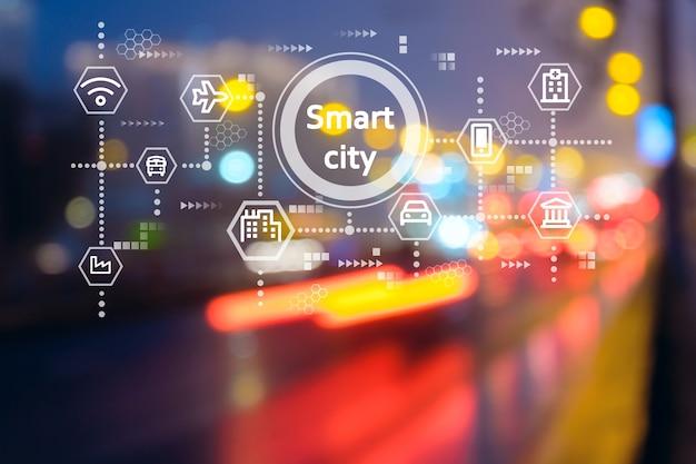 Conceito de cidade inteligente, rede de comunicação sem fio e transporte com fundo desfocado moderno
