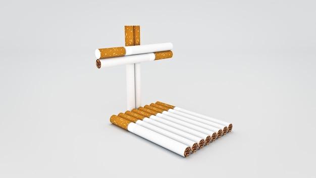 Conceito de cigarro de renderização em 3d de morte
