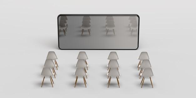 Conceito de cinema no smartphone. cadeiras na frente do celular. bandeira. ilustração 3d. aplicativo. copie o espaço.