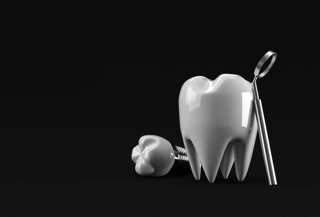 Conceito de cirurgia de implantes dentários renderização 3d.