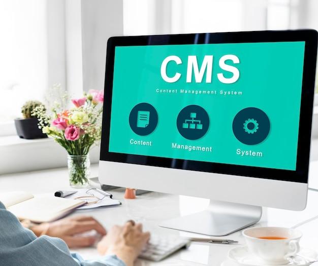 Conceito de cms de estratégia de sistema de gerenciamento de conteúdo