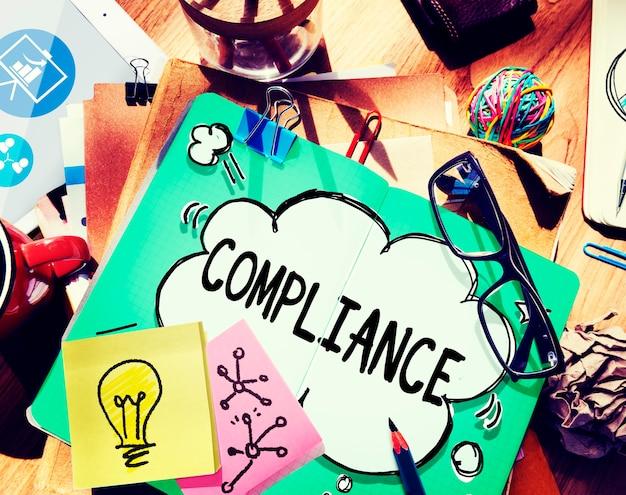 Conceito de códigos de políticas de regulamentos de regras de conformidade