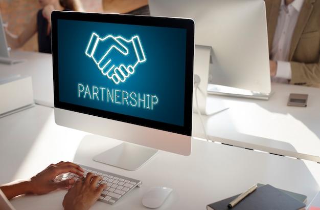 Conceito de colaboração de cooperação de acordo de parceria