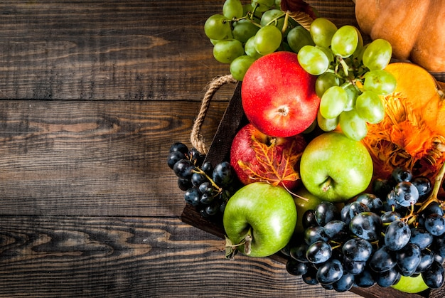 Conceito de colheita de outono e ação de graças. sazonal outono frutas e abóbora na mesa de madeira, vista superior