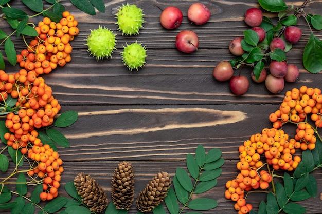 Conceito de colheita de outono, maquete. quadro com espaço de cópia, disposição plana.