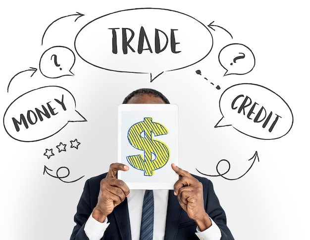Conceito de comércio de economia forex de moeda de investimento