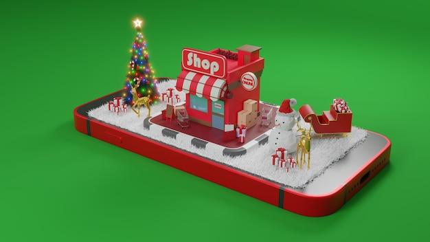 Conceito de comércio eletrônico no natal ou no ano novo. compras on-line em renderização em 3d de aplicativos para dispositivos móveis