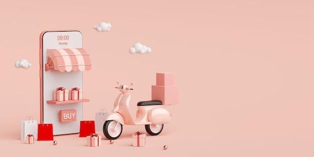 Conceito de comércio eletrônico, serviço de entrega em aplicativos móveis, transporte ou entrega de alimentos por scooter, renderização em 3d