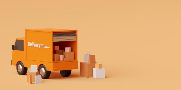 Conceito de comércio eletrônico transporte entrega de remessa por caminhão renderização em 3d