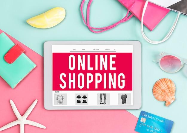 Conceito de comércio na internet para compras online