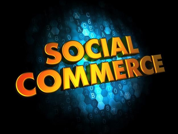 Conceito de comércio social - texto de cor dourada sobre fundo digital azul escuro.
