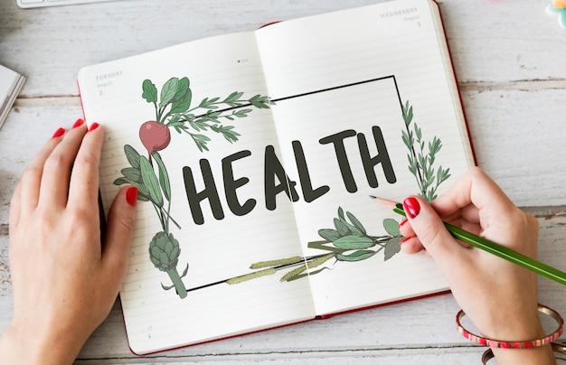 Conceito de comida de bem-estar de receita natural saudável