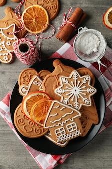 Conceito de comida de natal com biscoito de natal
