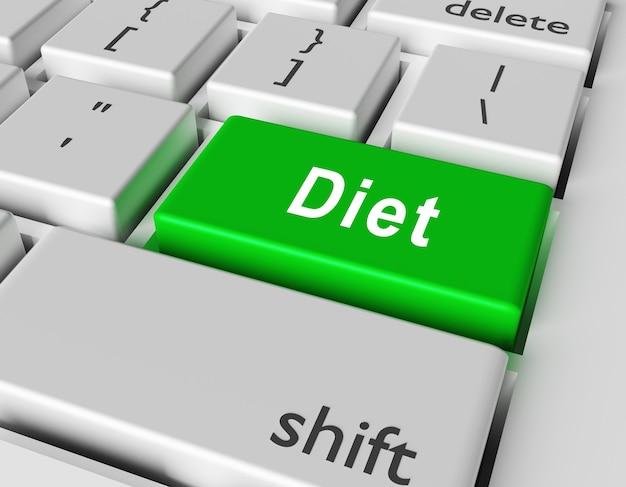 Conceito de comida. dieta de palavras no botão do teclado do computador