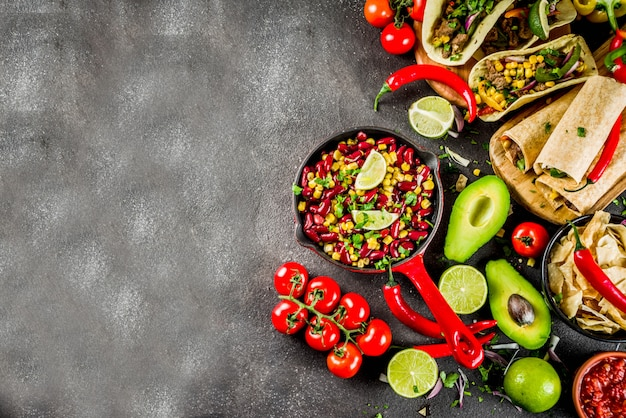 Conceito de comida mexicana. comida de cinco de mayo.