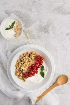 Conceito de comida saudável plana leigos